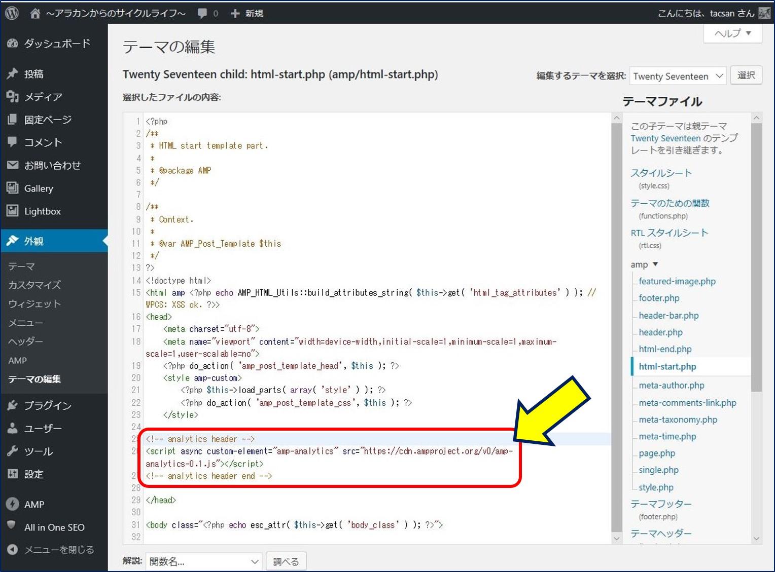 </head>タグの上にanalytics用のスクリプトコードを貼り付ける