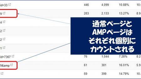 通常ページとAMPページはそれぞれ個別に統計が取られている