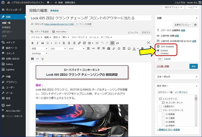 「AMP: Enabled/Disabled」が選択できるラジオボタンが表示される