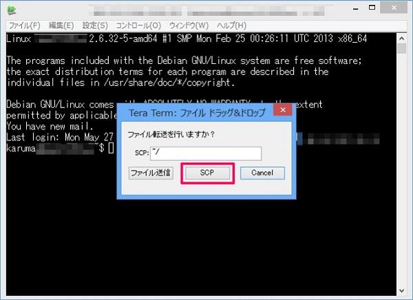 公開鍵ファイルをTera Termにドラッグアンドドロップする