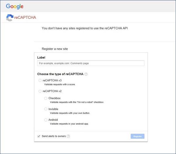 reCAPTCHA v3のAPI keyを登録できる画面