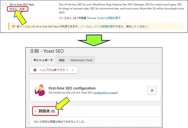 「All in One SEO Pack」を「無効化」すれば、問題点はなくなる