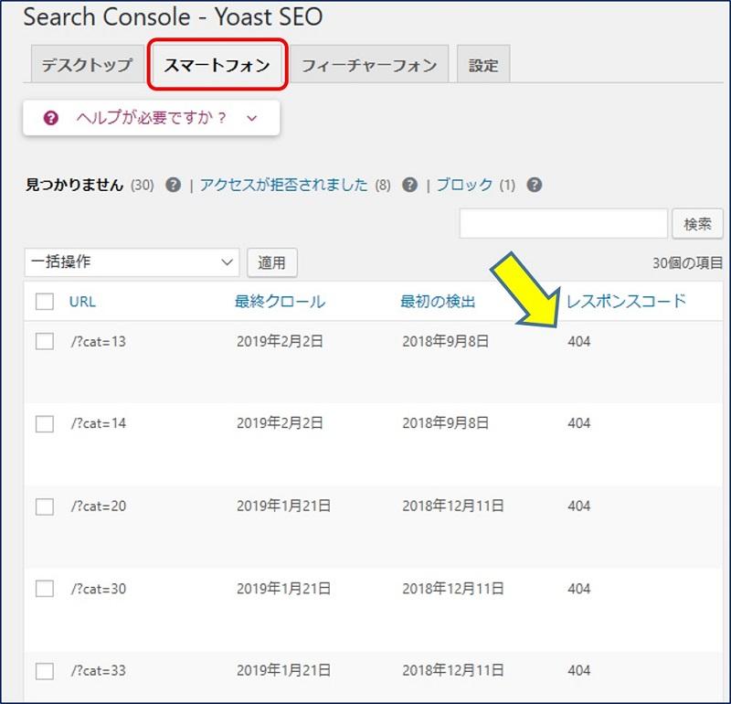 「Search Console - Yoast SEO」画面の【スマートフォン】タブ
