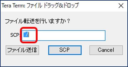 「 SCP: 転送先にするLinux上のパス」に「~/」を入力する