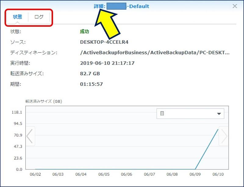 「詳細」タブでは、バックアップの実行結果とログが参照できる