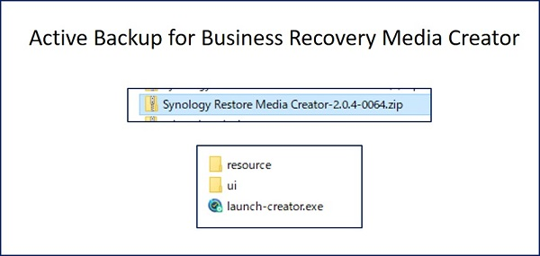 「Active Backup for Business Recovery Media Creator」の zipファイルが、自動的にダウンロードされるので、解凍して実行する