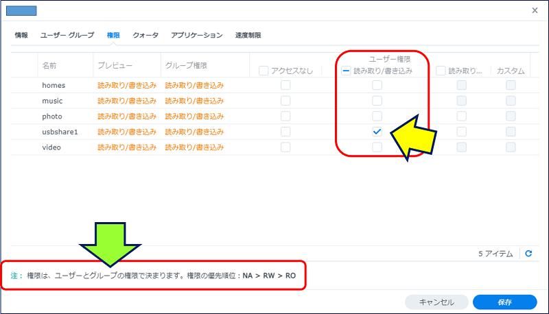 同じく、コントロールパネルの「ユーザーとグループ」で【xxxxx】ユーザーをクリックし、「編集」で「権限」タブを開いてみた状態