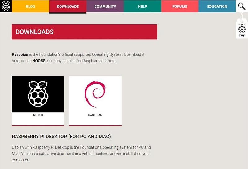 ダウンロードサイトから『 Raspbian 』を選択する