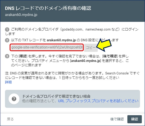 「DNSレコードでのドメイン所有権の確認」画面