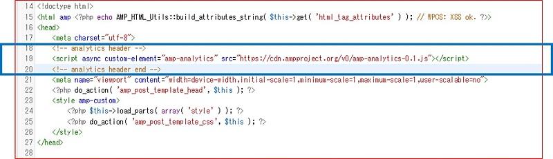 ampのテンプレート「html-start.php」に、次のコードを貼り付けた