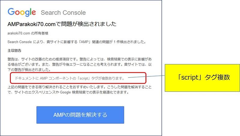 ドキュメントに AMP コンポーネントの「script」タグが複数あります。