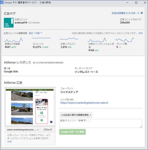 広告ユニットをクリックすると、「広告ユニットのサイズ」「収益確認」「広告主のリンク先URL」などの情報が確認できる