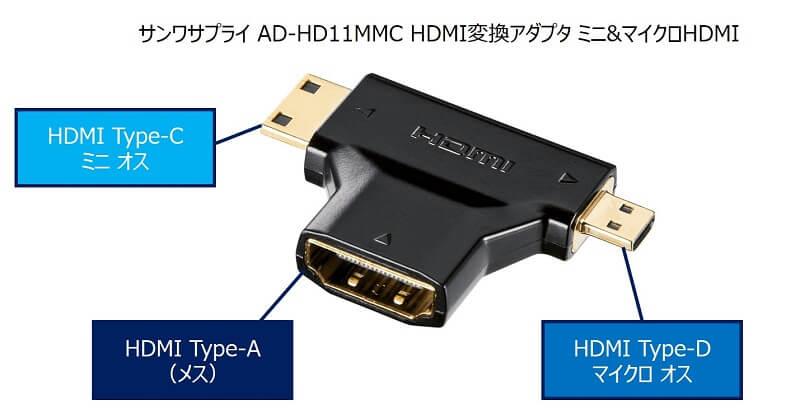 サンワサプライ AD-HD11MMC HDMI変換アダプタ ミニ&マイクロHDMI
