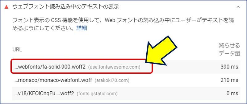 「ウェブフォント読み込み中のテキストの表示」の詳細には、<head>内に埋め込んだ【 CDN 】のURLが表示されている
