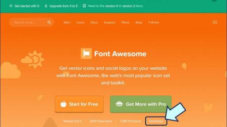 Font Awsomeのサイトにアクセスし、「ダウンロード」をクリックする