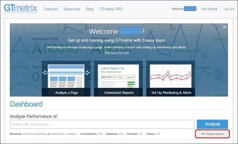 「GTmetrix」という、WEBサイトの表示速度チェックツール