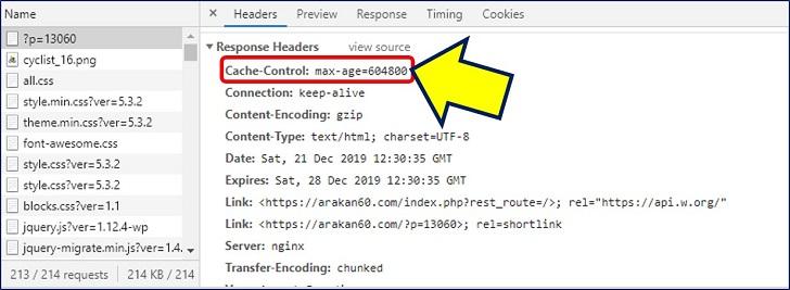 Google Chromeのデベロッパーツールを起動し、「Network」でも確認してみると、【Cache-Control: max-age】がヘッダーに埋め込まれている