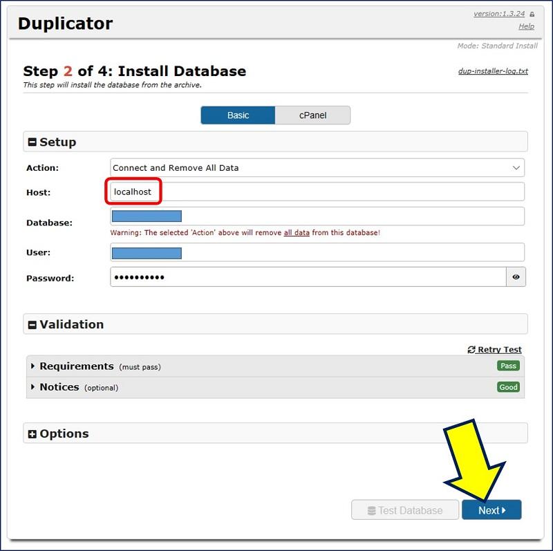 データベースのセットアップ画面が出るので、上から順に「データベースのホスト名」「データベース名」「ユーザー名」「パスワード」を入力する