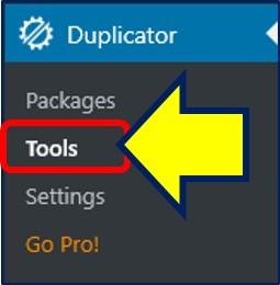 メニューの「Duplicator」から、「Tools」をクリックする