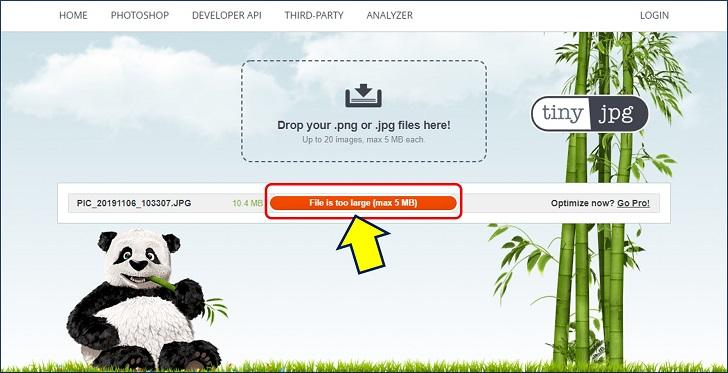 「tinyjpg」では、【5MB】を越える画像は圧縮できない