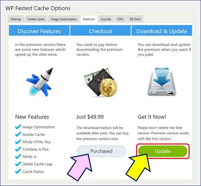 WP Fastest Cache Premiumを購入済みであれば、「Premium」タブに更新があると通知される