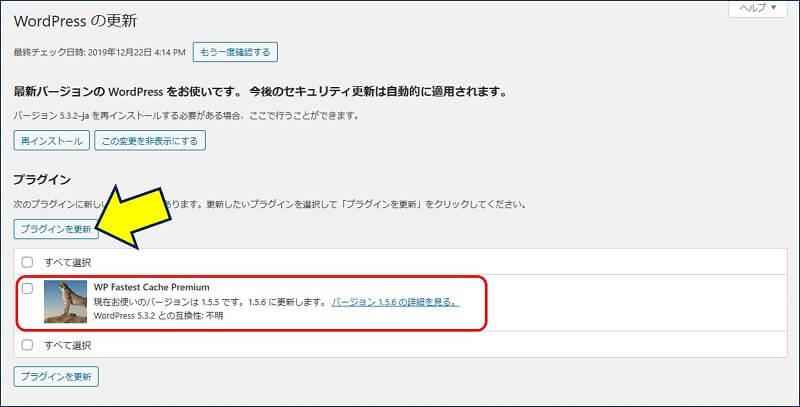 「Premium」タブの「Update」をクリックすると、WordPressの更新画面に遷移する