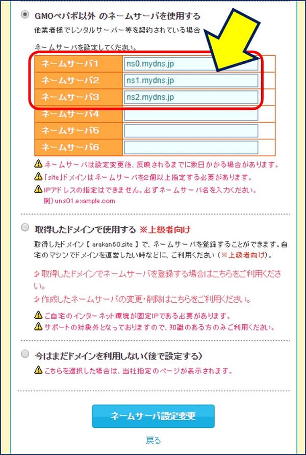 ネームサーバ設定欄が開くので、先にメモしておいた【MyDNS.JPのネームサーバー名】を入力する