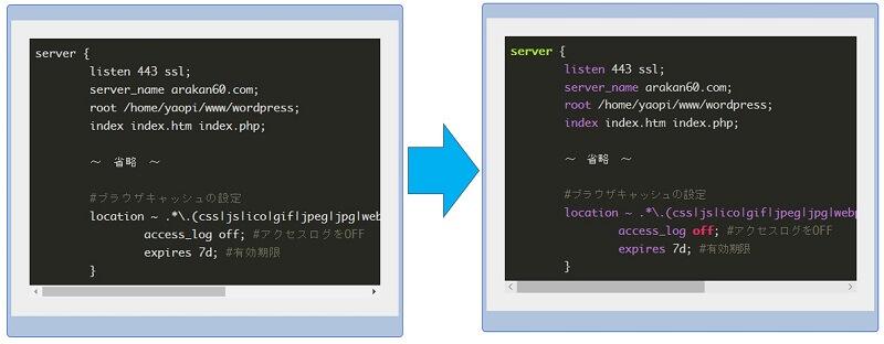下記例のようにハイライトされない場合、ソースコードの言語を指定をするとハイライトされる場合がある