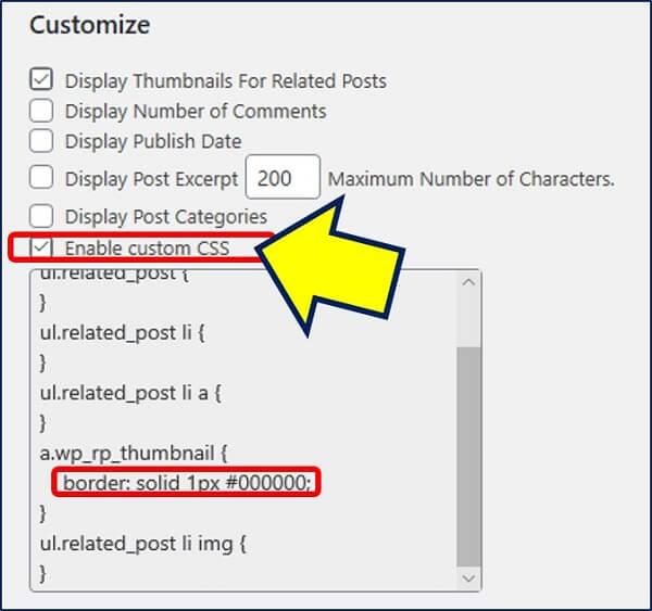 「Customize」で、【Enable custom CSS】にチェックをいれ、サムネイルに枠線を設定してみる
