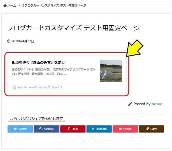 作成した固定ページを表示すると、下図のようなブログカードが表示される