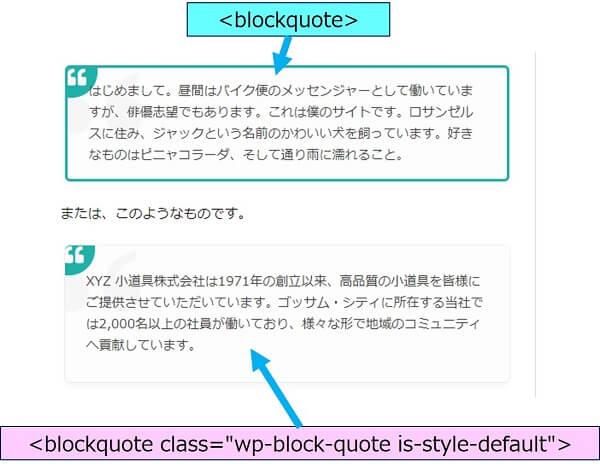 """サンプルページでの表示は、【class=""""wp-block-quote is-style-default"""">】が指定されており上記のCSSが効かないが、【class】を外せば上記CSSが適用される"""
