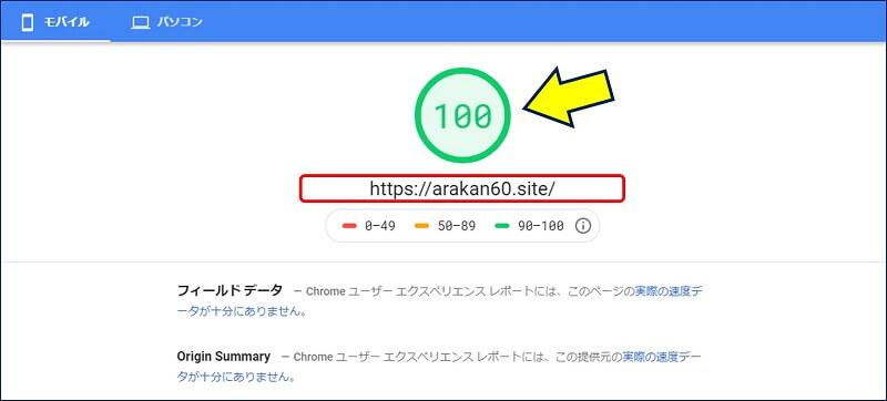 トップページの、PageSpeed Insightsでの測定結果