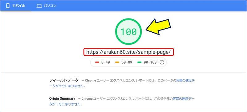 サンプルページの、PageSpeed Insightsでの測定結果