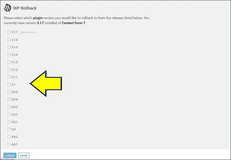 『Contact Form 7』のバージョンが、一覧表示される