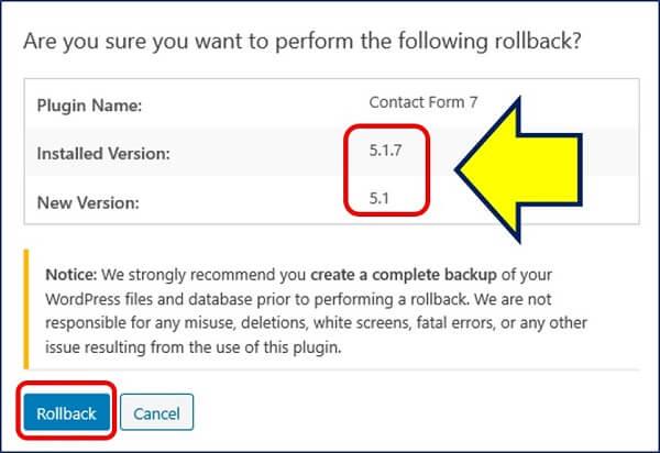 確認画面が表示されるので、再び【 Rollback 】をクリックする