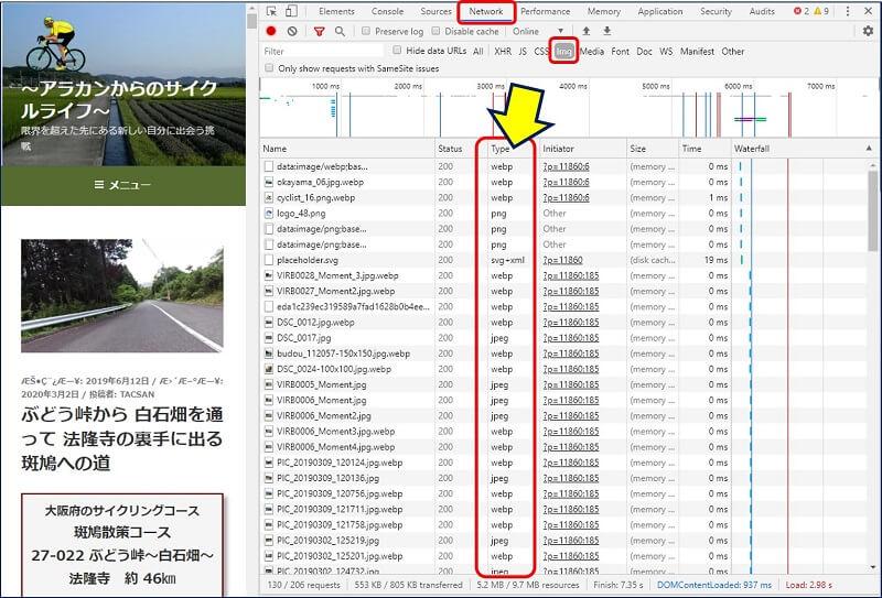 「Network」タブでページのリロードを行って、「img」の「Type」で確認する