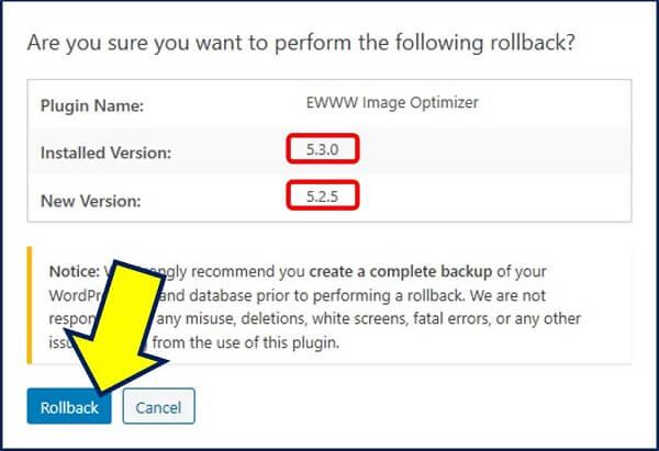 確認画面が表示されるので、再び【 Rollback 】をクリックする。
