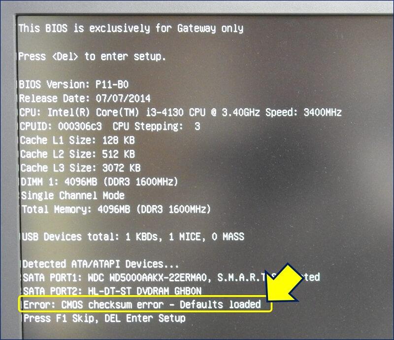 電源を入れてみると、「Error: CMOS checksum error」というメッセージが出る