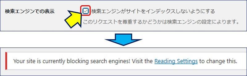 表示設定」の「検索エンジンでの表示 」で、「検索エンジンがサイトをインデックスしないようにする」にチェックが入っていると、次のような警告が出るので、このチェックを外す