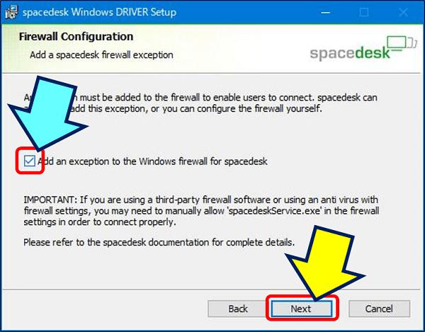 「spacedesk」に対してファイアウォールを除外する、を確認して「Next」をクリックする