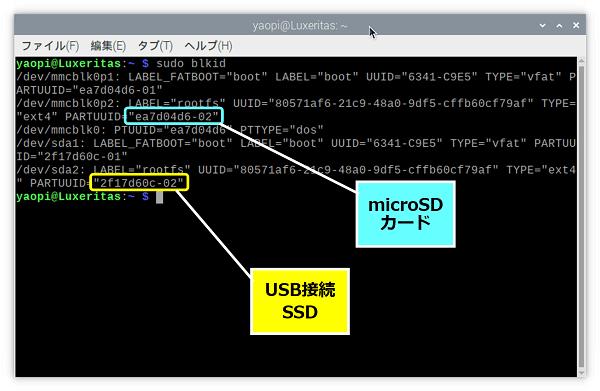 【microSDカード】の『PARTUUID』と、【SSD】の『PARTUUID』が表示される
