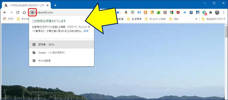 ブラウザ(Chrome)での表示状況