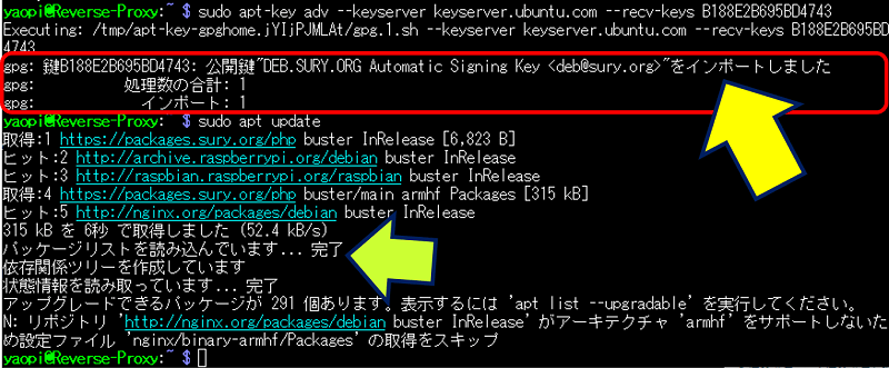 公開鍵の登録結果と、sudo apt update の実行結果