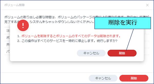 削除の警告画面が表示されるので、「削除」をクリックする
