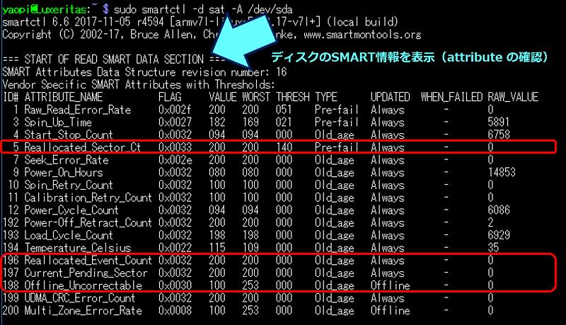 ディスクのSMART情報を表示(attribute の確認)結果