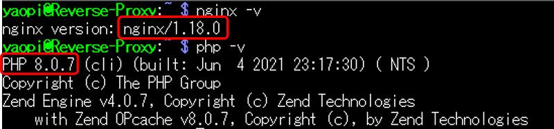 現在稼働中の Nginx と PHP のバージョン