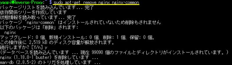 Nginxのアンインストール