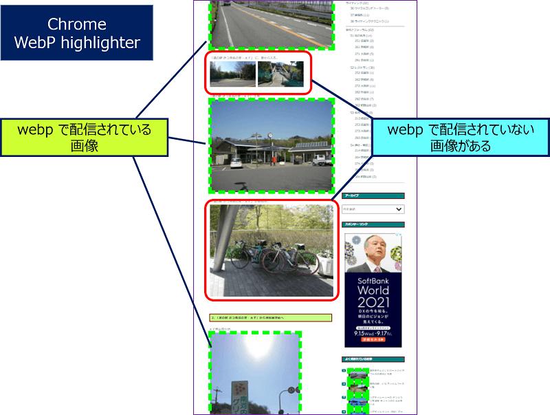 Chromeの拡張機能「WebP Highlighter」を使用して、WordPressのサイトを確認していると、webp で配信されていない画像があることの気付く
