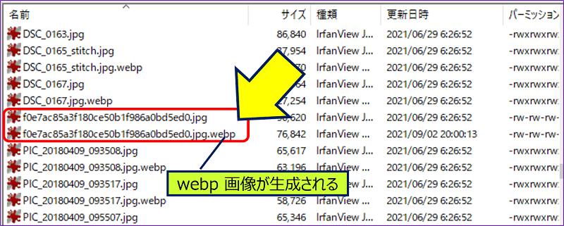 FTPで WordPressの「upload」ディレクトリーを見ると、該当画像の【.jpg.webp】が生成されている