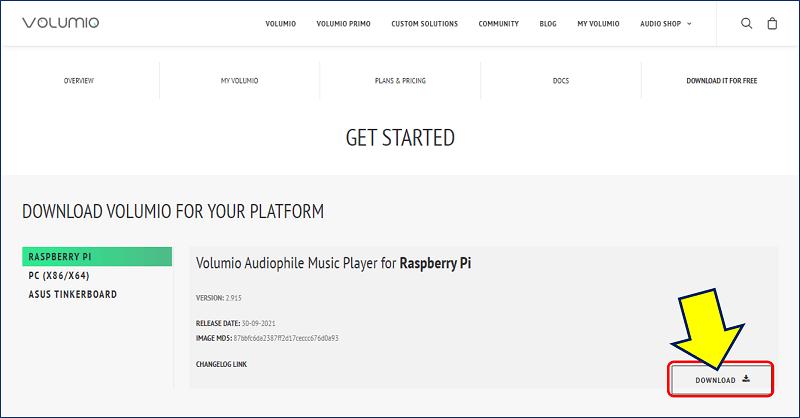 Volumio のダウンロードサイトから、最新のバージョンをダウンロード